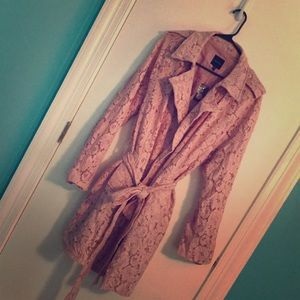 Lane Bryant Pink Lace Trench Coat
